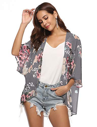 Floral Kimono Cardigan for Women Beach Swimwear Bikini Bathing Suit Cover up Summer Open Front Blouse Top (Deep Gray, Medium) -