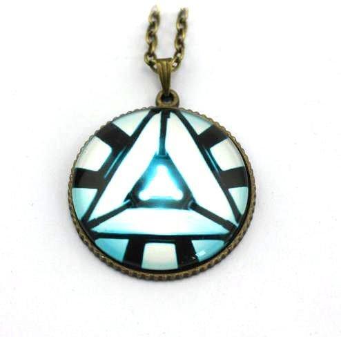 Cyqun(TM) Iron Man Necklace Heart Arc Reactor 4 Pendant Necklace Triangle Tony Stark Gift