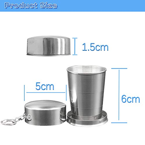 DTOL Stainless Steel Travel Folding Glass//Cup Telescopic Mug