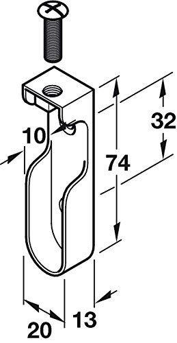4 soportes para barra de armario de 15 mm de ancho cromado pulido