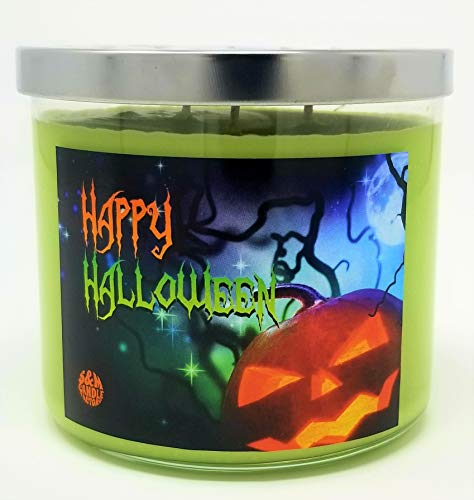 Happy Halloween 3 Wick Scented Soy Wax 12oz, 14.5oz, and 16oz Candles ~ 75 to 100 Hour Burn Time ~ Aromatherapy Soy Candles ~ Non-Toxic ~ Made in USA (14.5, -