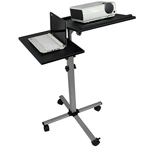 Systafex Profi Projektorwagen Laptopwagen Rollwagen Laptoptisch Beamer Wagen Notebooktisch Verstellbar und Neigbar