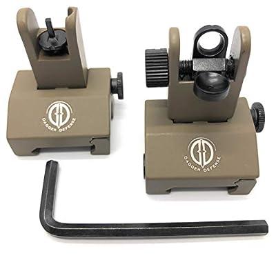Dagger Defense tactical flip up BUIS picatinny rail mounted backup iron sights. (tan)