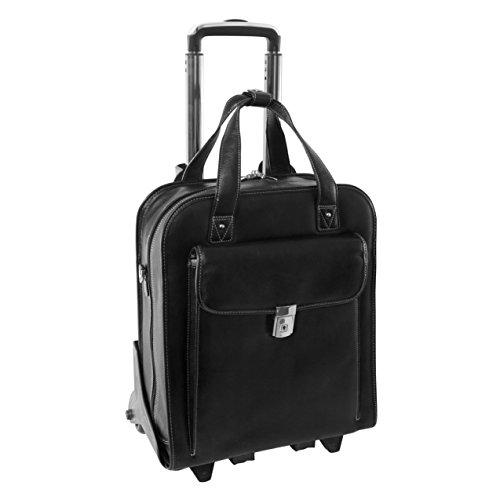 Siamod PASTENELLO 45315 Black Leather Vertical Detachable-Wheeled Laptop Case (Napa Computer Case)