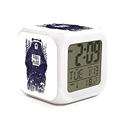 Free Hugs Bear Alarm Clock Displays Time Date and Temperature Soft Nightlight for Kids Home Office Bedroom Heavy Sleepers