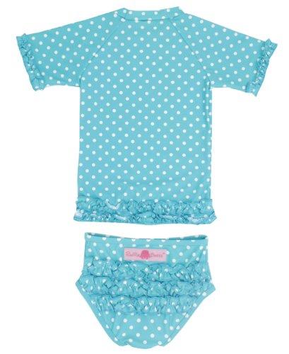 RuffleButts Little Girls Aqua Polka Dot Ruffled Rash Guard Bikini - Aqua - 4T