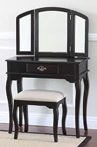 Queen Anne Style 3 Piece Makeup Vanity Set, Espresso - Solid Beige Seat