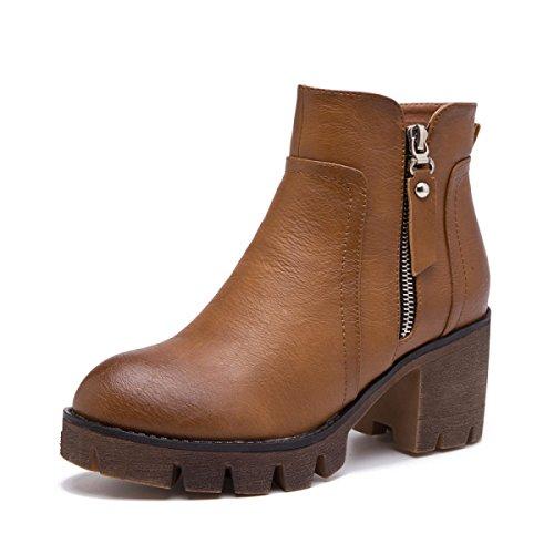 Damen Kurz Frauen Schuhe Stiefel Martin Mid Heel Brown Stiefel Knöchel Warm Damen aXtw1Xqr7