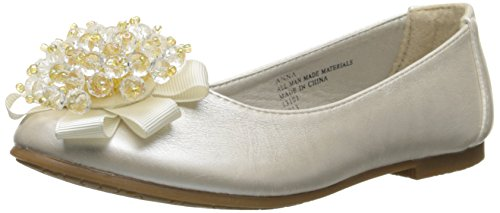 Girls Flats with Crystal Bead Bow (13, Ivory) -