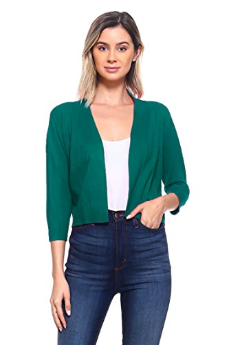 CIELO Women's Soft Solid Colored Open Front 3/4 Sleeve Cardigan Dk Green X-Large