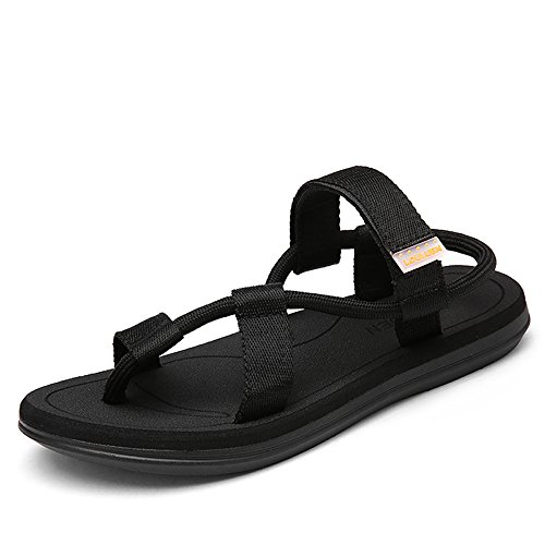 VILOCY Men's Women's Elastic Strap Sandals Anti Skid Casual Couple Beach Flat Sandals Slippers Flip Flop Black,45EU by VILOCY