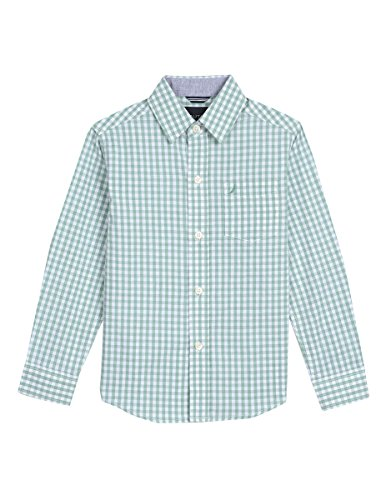 Nautica Little Boys' Long Sleeve Gingham Woven Shirt, Rios Golf Green, 7X by Nautica (Image #1)