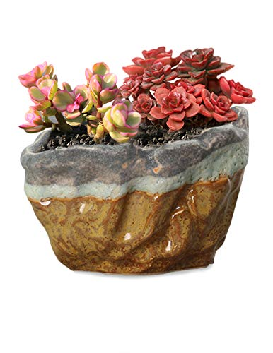 Dahlia Vintage Glazed Layer Ceramic Succulent Planter Plant Pot Flower Pot Bonsai Pot, 1