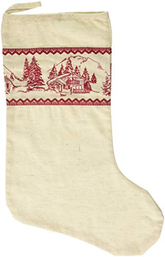 VHC Brands Cotton Cream Burlap Cabin Christmas Stocking with Nostalgic Red Cabin Scene Print 11x15 Inches Holiday Decoration ()