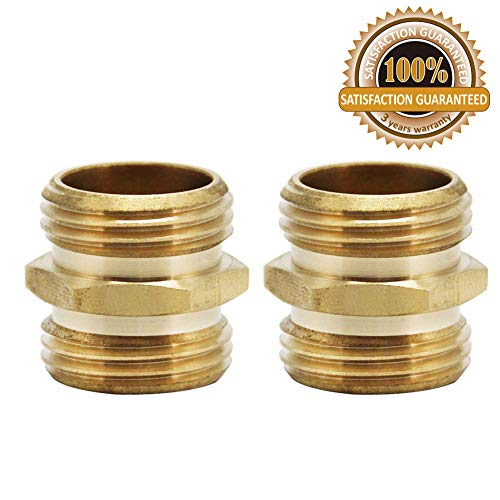 Double Male Connector - Twinkle Star 3/4 Inch Brass Garden Hose Adapter Double Male Quick Connector, 2 Pack