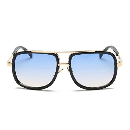 des lunettes de soleil,LHWY Hommes Lunettes de nuit Lunettes de soleil miroir carré Lunettes de sport en plein air (Or, B)