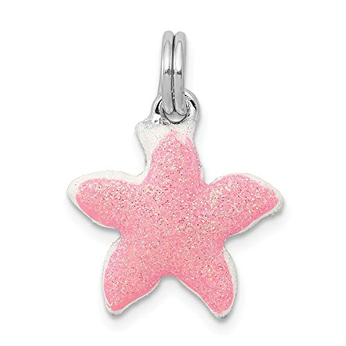 925 Sterling Silver Enameled Sparkle Starfish Pendant Charm Necklace Sea Shore Shell Life Fine Jewelry Gifts For Women For Her