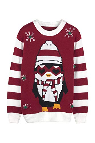 Pink Queen Unisex Ugly Christmas Xmas Pullover Sweater Jumper Penguin M -