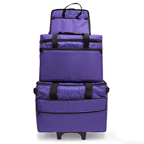 Luova 19″ 3 Piece Rolling Sewing Machine Trolley Set in Purple