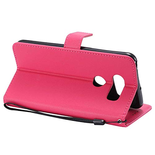 UNEXTATI LG V30 Case, Leather Magnetic Closure Flip Wallet Case with Card Slot and Wrist Strap, Slim Full Body Protective Case (Hot Pink #2) by UNEXTATI (Image #4)