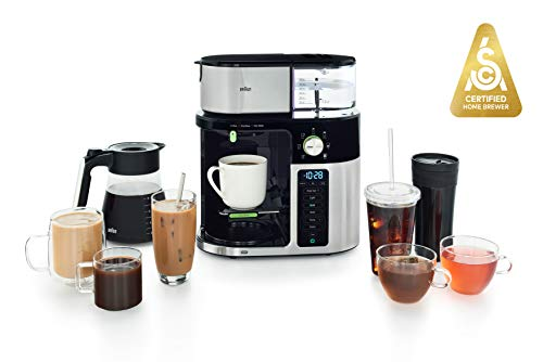 Braun MultiServe Coffee Machine 7 Programmable Brew Sizes / 3 Strengths + Iced Coffee & Hot Water for Tea, Glass Carafe (10-Cup), Stainless/Black, KF9150BK