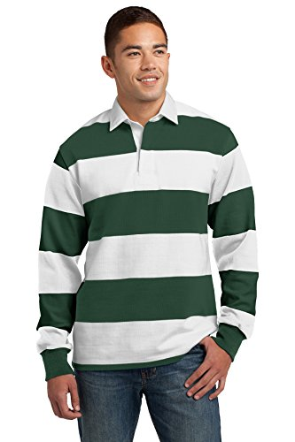 Sport-Tek Classic Long Sleeve Rugby Polo (ST301) Forest Green/White, L