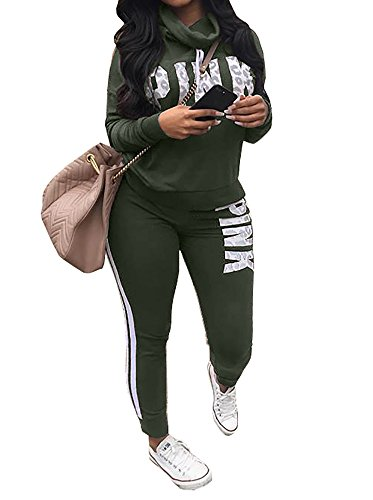 Chellysun Women Jumpsuit Cowl Neck Sweatshirt and Long Pants Tracksuit Letter Print 2 Piece Outfits Army Green XX-Large