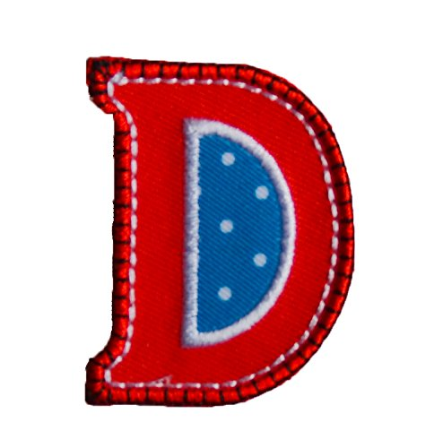(TrickyBoo Iron-On Letter Patch Craft Applique D Red Blue 9Cm Personalize Names Fabric Clothing Jeans Crafts To Iron On Hat Skirt Dresses Cap Jacket Neckerchief Ceiling Flag Pants Plate Backpack)