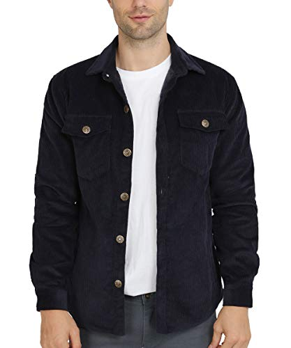 INVACHI Men's Regular Fit Vintage Button-Front Single Breasted Corduroy Trucker Jacket Coat Navy