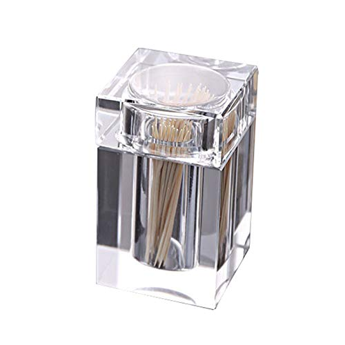 OLI Toothpick Box, Crystal Glass Toothpick Box, Hotel KTV Toothpick Holder, Living Room Home Square Stamped Transparent Cotton Swab Box,A,Glass