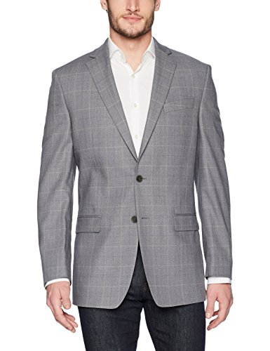 (Calvin Klein Men's Malik Slim Fit Single Breast 2 Button Blazer, Gray/Cream 46 Long)