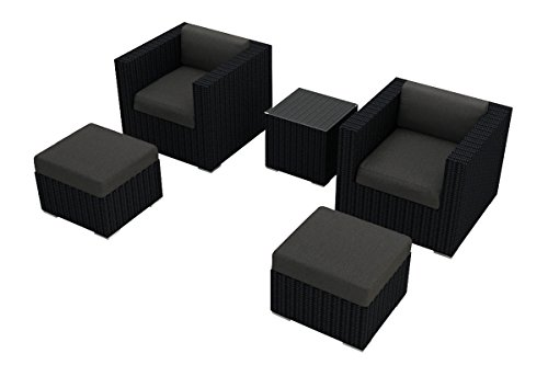 Harmonia Living Urbana 5 Piece Club Chair Set, Canvas Charcoal