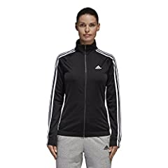 Stay a step ahead of the changing weather in this women's track jacket. Made with smooth recycled tricot, the full-zip jacket has an elasticized hem for a snug fit that helps keep the chill out. Contrast 3-stripes down the sleeves add an athl...