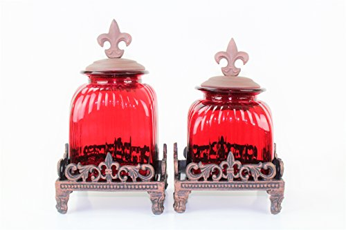 2 PC RED CANISTER SET (FLEUR DE LI TOP & FLEUR DE LI BASE, COPPER)FREE SALT & ()
