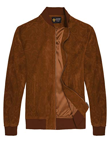 - COOFANDY Men's Floral Suede Bomber Leather Jacket Casual Varsity Baseball Coat,Khaki,XX-Large