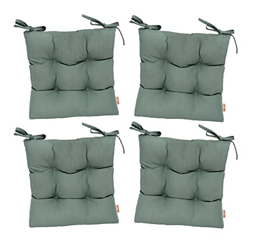 RSH Décor Set of 4 - Indoor/Outdoor Sunbrella Canvas Spa Blue Green Tufted Seat Cushions with Ties for Dining/Patio Chairs - Choose Size (20