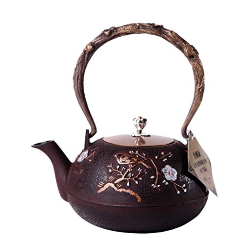 DTH Teapot Mini Iron Kettle, Cast Iron Kettle, Handmade, Uncoated, Copper Cover, Tea Set 1200Ml, Plum Blossom, a