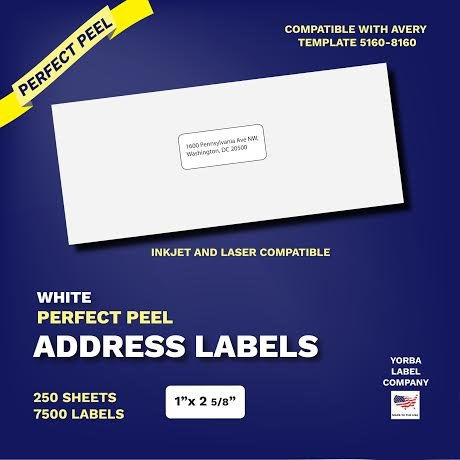 Perfect Peel Address Labels and Mailing Labels for Both Laser and Inkjet Printers. Each Set Comes With 7500 Labels. 250 Total Sheets. Label Size Is 1