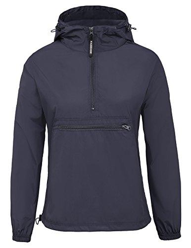 Women Quick Dry Lightweight Raincoat Waterproof Jacket Size 2XL Navy - Pullover Windbreaker Navy