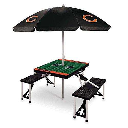 NFL Chicago Bears Picnic Table Sport with Umbrella Digital Print, One Size, Black by PICNIC TIME