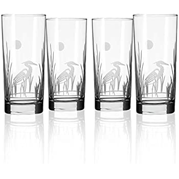 Etched Drinking Glass with Heavy Base Made in the USA Cooler Glass Set of 4 Lead Free Crystal Glass Rolf Glass Go Kipper Highball Glass 15 ounce
