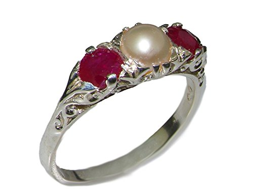 LetsBuyGold 10k White Gold Cultured Pearl and Ruby Womens Trilogy Ring - Size 5.75 (White Gold Trilogy Ring)