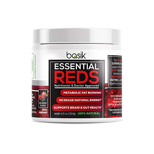 Basik Nutrition Essential Reds Polyphenol Supplement, Blend of Premium Superfruits Vital for Natural Energy Boost, Metabolism, Brain Gut Health