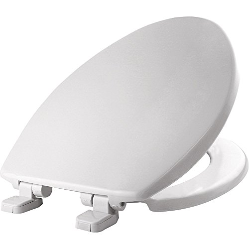 Bemis 180SLOW 000 Elongated Whisper-Close Plastic Toilet Seat featuring STA-TITE, White