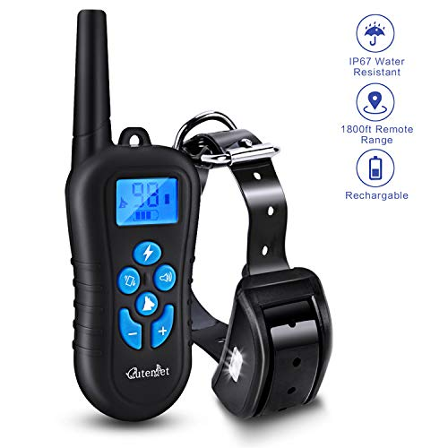 cuterpet Dog Training Collar, 2000Ft /660yd 100% Waterproof Dog Shock Collar Shock/Beep/Vibration/LED Light Dog Trianing Collar with Remote for Small Medium Large Dogs