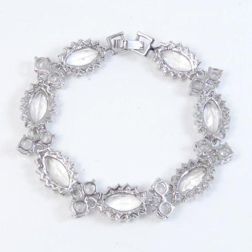 Ever Faith - Noces Ton d'Argent Clair Fleur Cristal Autrichien Tennis Bracelet N02208-1