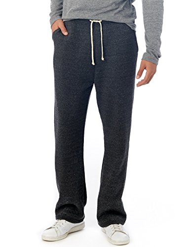 Alternative Mens Hustle Eco-Fleece Open Bottom Sweatpants Large Eco Black Cotton Fleece Straight Leg Pant