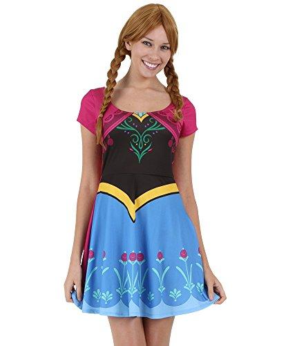 Womens I Am Anna Frozen Skater Dress Medium (Frozen Dress Adults)