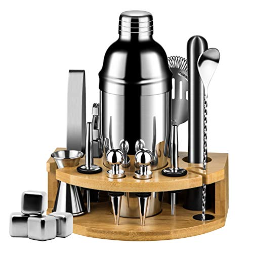 17 pcs Cocktail Shaker Set, Mixology Bartender Kit with Bamboo Stand, Martini Viski Drink Mixer, Vintage Mocktail Recipes and Whiskey Stones