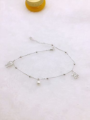 - TKHNE Hong Kong is born Spot silver 925 sterling silver beads hanging round shell fish fish palm palm inlaid zircon Foot Chain anklet ankle chain